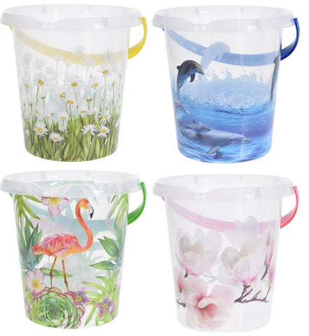 Large Plastic Bucket with Animal Floral Print 12Litre Bucket Garden Water Can