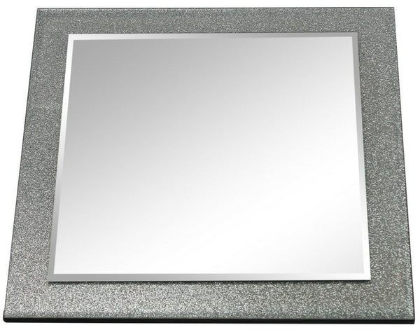 Speckled Silver Wall Mirror 40cm x 40cm Square Shaped Glass on Glass