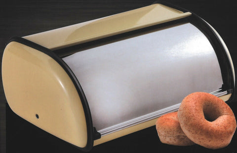 Renberg Vanilla Coloured Stainless Steel Bread Bin Bread Crock