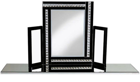 Large Glitz Black Crystal Dressing Table Mirror All Glass 62cm Tall