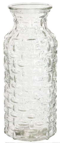 Large Glass Wide Mouth Bottle Flower Vase Woven Style Clear Glass / Carafe Jug