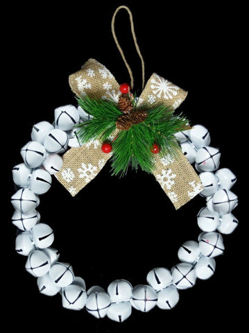 30cm Original Jingle Bell Wreath -  White Wreath