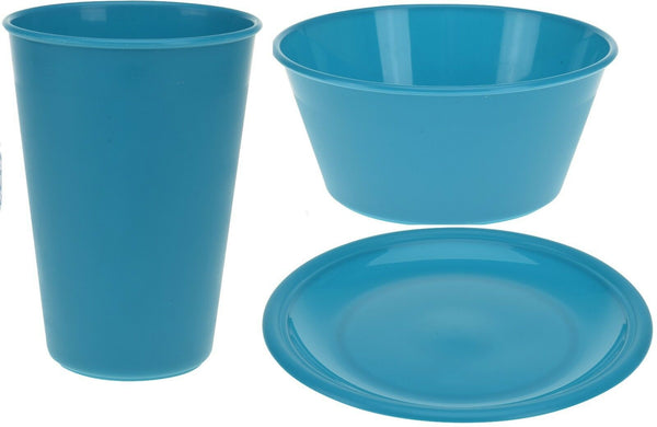 Set of 4 Childrens Picnic Camping Plastic Plates Bowls Tumblers Teal