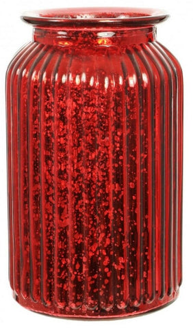 Red Splatter Glass Flower Vase Wide Mouth Flower Vase Ribbed Metallic Design