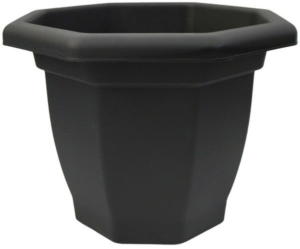 Large 36cm Black Plastic Planter Plant Pot Flower Pot Octagonal Bellpot