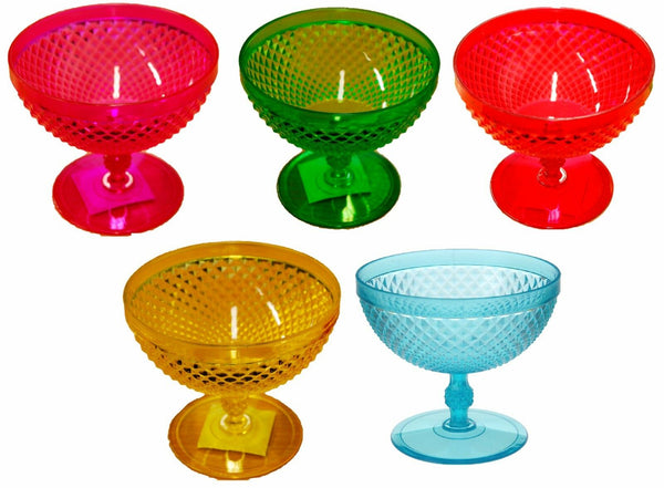 Set of 4 Plastic Bright Colours Ice cream bowls Sundae Dishes