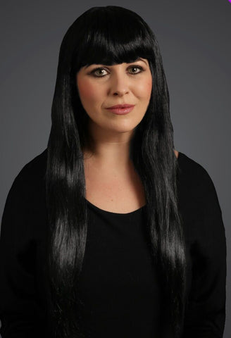 Long Black WIg Fancy Dress Wigs with Fringe 65cm Long