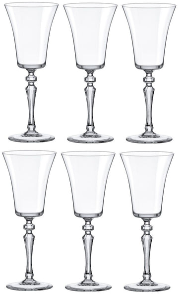 Rona Set of 6 Crystaline Wine Glasses Tall Large Stemmed Wine Glasses