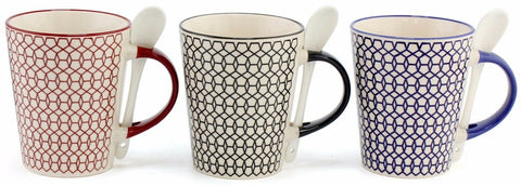 Leonardo Collections Large Geometric Coffee Mug & Cute White Ceramic Spoon 400ml