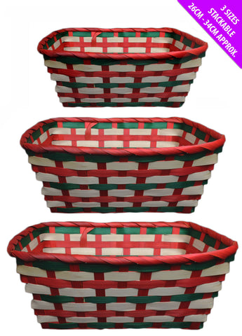 Set of 3 Traditional Christmas Party Wicker Baskets Picnic Laundry Hampers