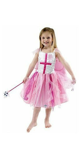 England Football Girls Fairy Pink Fancy Dress Party Costume Dress with Cape