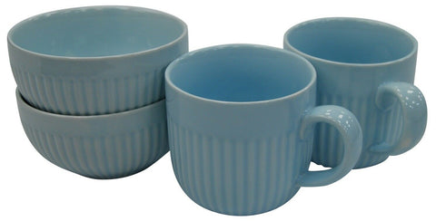 Set of 4 Blue Rippled Porcelain Mugs & Bowls Set 2 Large Mugs & 2 Soup Bowls