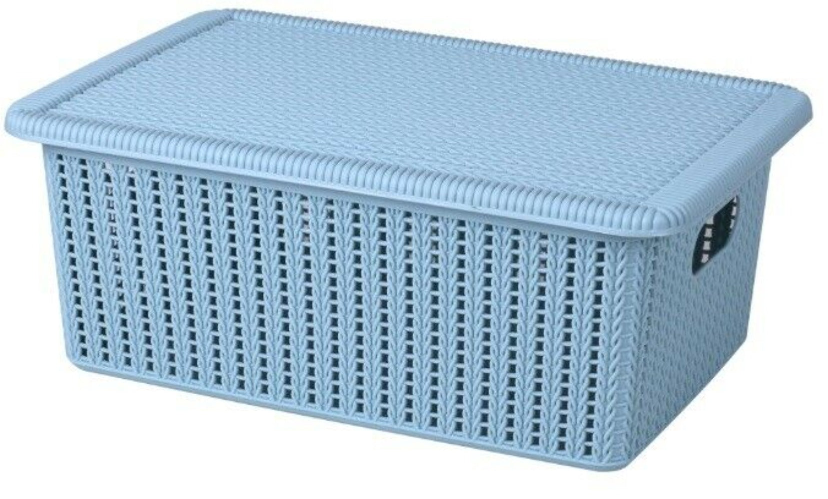 Small Storage Lidded Plastic Storage Boxes Rattan Design Blue or Grey