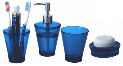 4 Piece Bathroom Set In Blue Orange & green soap dish tootpaste holder dipenser