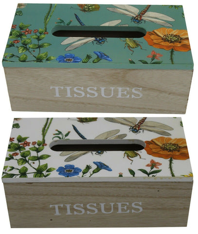 Wood Tissue Box With Glossy Lid With Nature Wildlife on Box Green or White