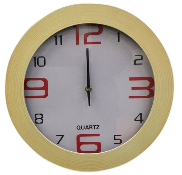 Large 35cm Wood Effect Wall Clock Modern Design With Easy To Read Numericals