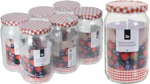 Set of 6 Large Glass Preserve Jar Preserve Jars With Red Tartan Lids 2 Litres