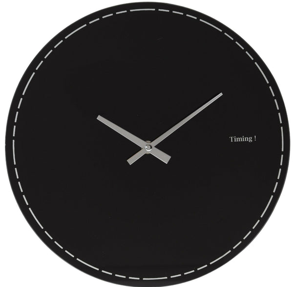 Large 30cm Black Glass Wall Clock Modern Design Office or Dining Room