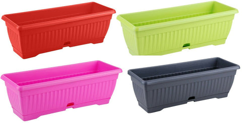 Large 50cm Bright Colour Planters With Water Reserve Window Box Plant Pot