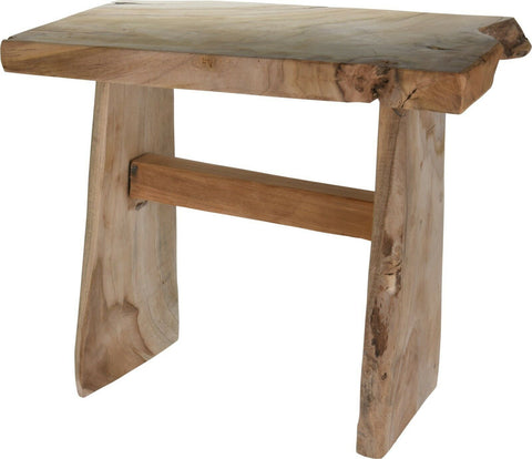 Handmade Solid Teak Wood Stool Heavyweight Solid Wood Bench Seating Rustic