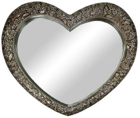 Large Ornate Antique French Heart Shaped Champagne Wall Mirror 77cm x64cm