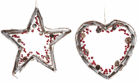 Large Christmas Decoration Wreath Hanging Star & Heart Wood Bark With Berries
