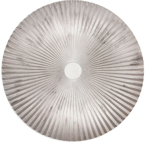 Very Large 39cm Rippled Wood Serving Plate Silver Serving Platter