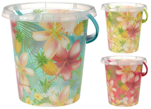 Large Plastic Bucket with Pineapple Orchid Print 12Litre Bucket Garden Water Can