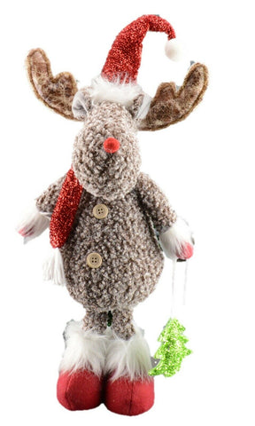 56cm Standing Rudolf With Santa Pompom Hat Christmas Home Decoration