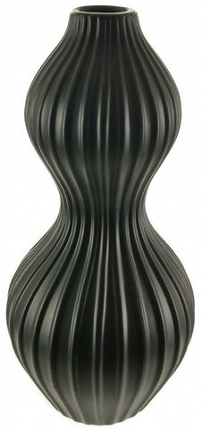 Tall Black Rippled Ceramic Ribbed Waisted Design Table Flower Vase 36cm