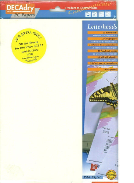 Decadry SCL-7667 A4 Ivory Cotton Letterhead Paper Certificate Paper