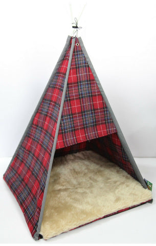 CatWam Cat Kitten Bed Soft Tweed Check Tent House Pet Bed Fun Wigwam Shelter