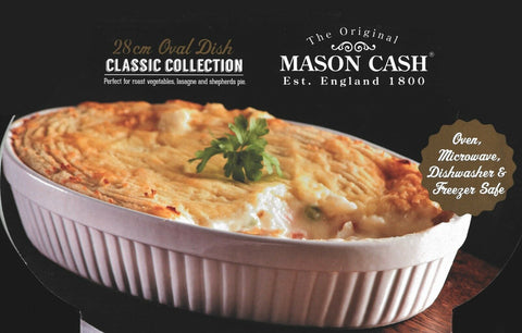 Mason Cash White Oval Oven Roasting Casserole Serving Dish Vegetables & Lasagna