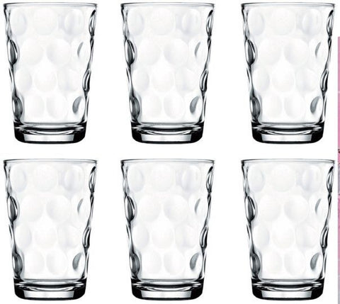 Pasabache Polka Dot Glass Tumbler Set Stackable Juice Water Glasses Set of 6