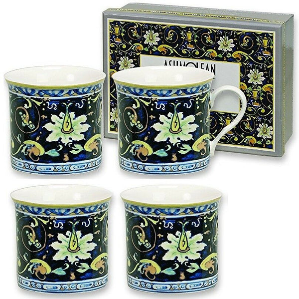 Heath McCabe Ashmolean Maiolica Themed Colourful Design Fine China Mugs Set Of 4