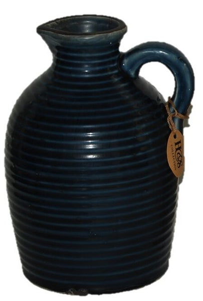 Brand New Ornamental Jug Rustic Design Garden Jug In Mint Green White Blue