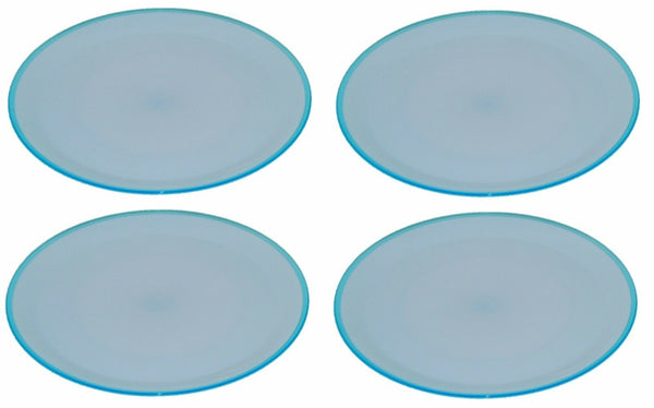 Set of 4 Bright Coloured Dinner Plates. Salad Plates 23cm