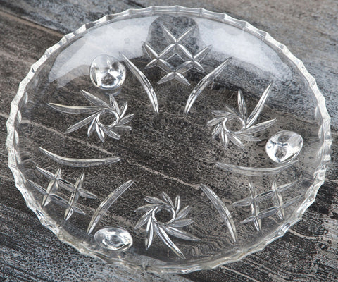 Stunning Set of 4 Crystal plates with Feet 17cm Biscuit Salad Side Tea Plate