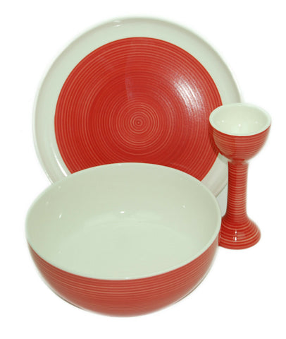 Sagaform Red & White Modern Breakfast Cereal Soup bowl Matching Plate & Egg Cup