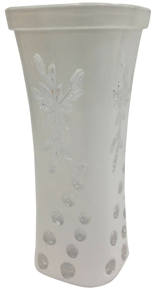 24cm Tall Wide Mouth White Glass Flower Vase Flared Design Vase Floral Design