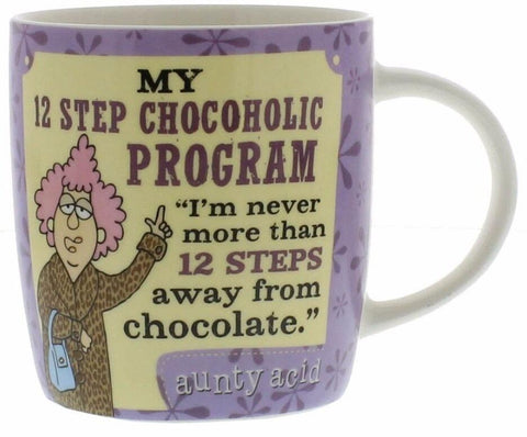 Novelty Mug Gift For Her Featuring Aunty Acid Humour 12 Steps From Chocolate