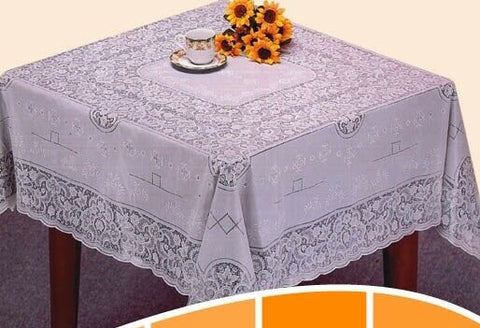 54in Square White Vinyl Lace Tablecloth Easy Clean Indoor / Outdoor Use