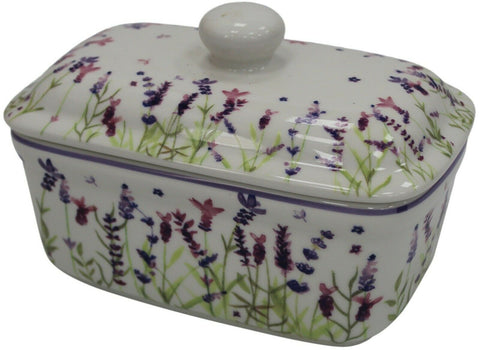 Lenoardo Collection Bell Top Fine China Lavender Floral Butter Dish Gift Boxed