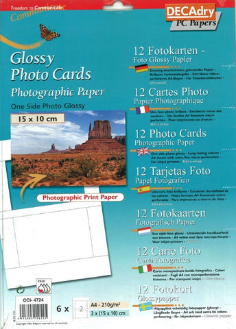 Decadry OCI-4724 Glossy Photo Cards Photographic Printer Paper