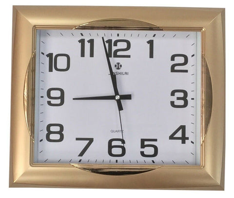 Large 40cm x 35cm Rectangle Wall Clock Matt Gold Frame & Gloss Finishes