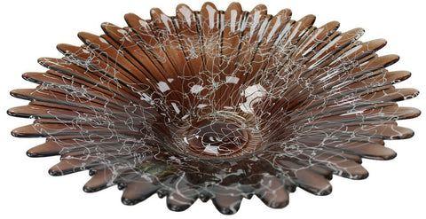 Ex Large 37cm Handmade Brown Glass Fruit Bowl Wedding Table Centerpiece Modern