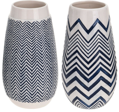 Large Ceramic Cylinder Shaped Tall Flower Vase 29cm Tall Blue & White Zig Zag