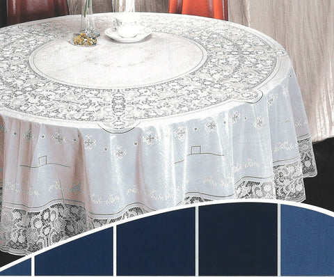 54in / 135cm Round White Vinyl Lace Tablecloth Easy Clean Indoor / Outdoor Use