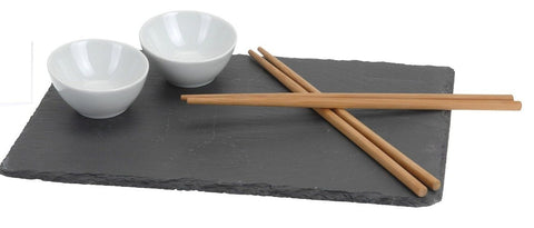 7 Piece Slate Sushi Serving Board Kit with Chopsticks Ceramic Dip Sauce Bowl