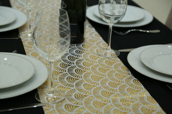 Gold & White Fabric Table Runner 2.5 Meters Long Elegant (8ft Length)